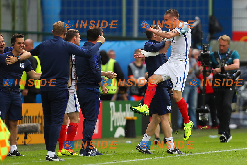 Esultanza Jamie Vardy dopo il Gol Goal celebration <br /> Lens 16-06-2016 Stade Bollaert-Delelis Footballl Euro2016 England - Wales / Inghilterra - Galles Group Stage Group B. Foto Gwendoline Le Goff / Panoramic / Insidefoto