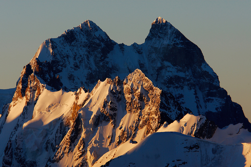 Russia, Caucasus, Mount Ushba (4710 m asl), just on the Georgian side of the border, just after sunrise, seen from Elbrus.
