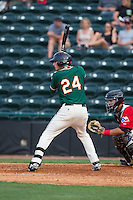 Zach Sullivan (24) of the Greensboro Grasshoppers at bat against the Hickory Crawdads at L.P. Frans Stadium on May 6, 2015 in Hickory, North Carolina.  The Crawdads defeated the Grasshoppers 1-0.  (Brian Westerholt/Four Seam Images)