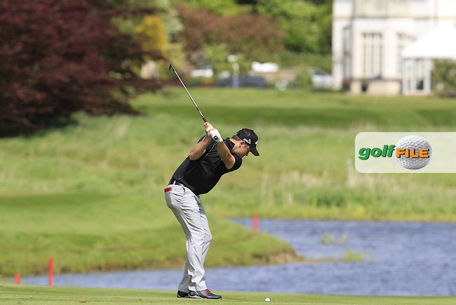 Gary Boyd (ENG) plays his 2nd shot on the 13th hole during Thursday's Round 1 of the 2016 Dubai Duty Free Irish Open hosted by Rory Foundation held at the K Club, Straffan, Co.Kildare, Ireland. 19th May 2016.<br /> Picture: Eoin Clarke   Golffile<br /> <br /> <br /> All photos usage must carry mandatory copyright credit (&copy; Golffile   Eoin Clarke)