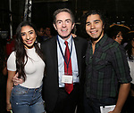 "Lauren Boyd, James Basker and Anthony Lee Medina from the 'Hamilton' cast backstage as Students attend The Rockefeller Foundation and The Gilder Lehrman Institute of American History sponsored High School student #EduHam matinee performance of ""Hamilton"" at the Richard Rodgers Theatre on 4/26/2017 in New York City."