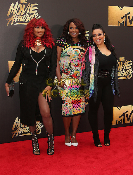 09 April 2016 - Burbank, California - Sandra 'Pepa' Denton, DJ Spinderella and Cheryl 'Salt' James of Salt-N-Pepa. 2016 MTV Movie Awards held at Warner Bros. Studios. <br /> CAP/ADM/SAM<br /> &copy;SAM/ADM/Capital Pictures