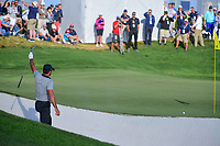 Jason Day (AUS) nearly chips in from the sand on 14 during round 2 Four-Ball of the 2017 President's Cup, Liberty National Golf Club, Jersey City, New Jersey, USA. 9/29/2017.<br /> Picture: Golffile | Ken Murray<br /> <br /> All photo usage must carry mandatory copyright credit (&copy; Golffile | Ken Murray)