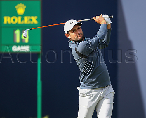 20th July 2017, Royal Birkdale Golf Club, Southport, England; The 146th Open Golf Championship ; First round ; Alexander Levy (FRA) strikes his tee shot on the first hole