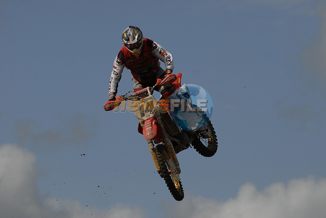 Marc De Reuver (NED) flies high over the table top jump in the MX1 Grand Prix Race1 during the Motocross Grand Prix at Fairyhouse Race Course, Co.Meath, Ireland, 31st August 2008.(Photo Eoin Clarke/Newsfile)