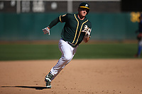 OAKLAND, CA - SEPTEMBER 8:  Matt Chapman #26 of the Oakland Athletics runs the bases against the Texas Rangers during the game at the Oakland Coliseum on Saturday, September 8, 2018 in Oakland, California. (Photo by Brad Mangin)