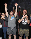 """Rob McClure, Alex Brightman and Adam Dannheisser during the Broadway Opening Night Actors' Equity Legacy Robe Ceremony honoring Jill Abramovitz for """"Beetlejuice"""" at The Wintergarden on April 25, 2019  in New York City."""