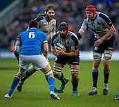 2nd February 2019, Murrayfield Stadium, Edinburgh, Scotland; Guinness Six Nations Rugby Championship, Scotland versus Italy; Josh Strauss of Scotland powers towards Sebastian Negri of Italy