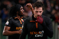 Calcio, semifinale di andata di Coppa Italia: Roma vs Napoli. Roma, stadio Olimpico, 5 febbraio 2014.<br /> AS Roma forward Gervinho, of Ivory Coast, celebrates past teammate Mattia Destro, right, after scoring the winning goal during the Italian Cup first leg semifinal football match between AS Roma and Napoli at Rome's Olympic stadium, 5 February 2014. AS Roma won 3-2.<br /> UPDATE IMAGES PRESS/Isabella Bonotto