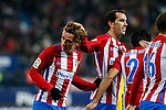 Atletico de Madrid's Antoine Griezmann, Diego Godin during the match of Copa del Rey between Atletico de Madrid and Las Palmas, at Vicente Calderon Stadium,  Madrid, Spain. January 10, 2017. (ALTERPHOTOS/Rodrigo Jimenez)