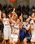 SIOUX FALLS, SD - FEBRUARY 28:  Tagyn Larson #41, Haleigh Gunn #31, Nicole Hatcher #3 and Paige Mriden #33 from Roosevelt scramble for the loose ball with Peyton Bjorkman #23 and McKayla Hermanson #11 from O'Gorman in the second half of their District 1AA Championship Game Thursday night at Roosevelt. (Photo by Dave Eggen/Inertia)
