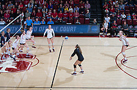 STANFORD, CA - December 1, 2018: Morgan Hentz,Holly Campbell, Meghan McClure, Audriana Fitzmorris, Jenna Gray, Kathryn Plummer at Maples Pavilion. The Stanford Cardinal defeated Loyola Marymount 25-20, 25-15, 25-17 in the second round of the NCAA tournament.