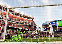 CLEVELAND, OH - JUNE 22: Aaron Long #23 and Walker Zimmerman #5 celebrate Long's goal during a game between the United States and Trinidad & Tobago at FirstEnergy Stadium on June 22, 2019 in Cleveland, Ohio.