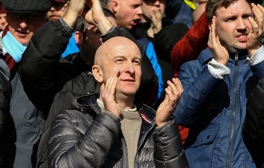 Burnley fans applaud their team<br /> <br /> Photographer Alex Dodd/CameraSport<br /> <br /> The Premier League - Liverpool v Burnley - Sunday 10th March 2019 - Anfield - Liverpool<br /> <br /> World Copyright © 2019 CameraSport. All rights reserved. 43 Linden Ave. Countesthorpe. Leicester. England. LE8 5PG - Tel: +44 (0) 116 277 4147 - admin@camerasport.com - www.camerasport.com
