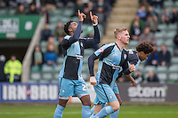 Gozie Ugwu of Wycombe Wanderers celebrates scoring his side's first goal during the Sky Bet League 2 match between Plymouth Argyle and Wycombe Wanderers at Home Park, Plymouth, England on 30 January 2016. Photo by Mark  Hawkins / PRiME Media Images.
