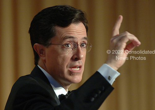 Comedian Stephen Colbert entertains guests at the White House Correspondents' Association Dinner at the Washington Hilton Hotel in Washington on April 29, 2006.   .Credit: Roger L. Wollenberg - Pool via CNP.