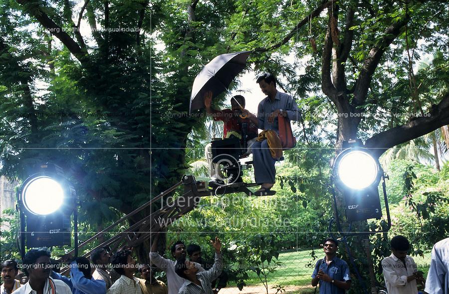 INDIA, Chennai Madras, Mallywood the tamil film industry, film shooting in AVM studios / INDIEN, Chennai frueher Madras, Filmset im AVM Filmstudio, die Filmindustrie in Tamil Nadu wird auch Mallywood genannt