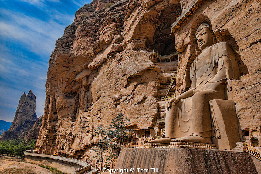 Huge Buddha statue, BIng Ling Cave and Temple Ganshu Province, China Yellow River