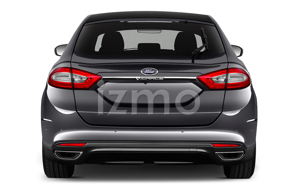 Straight rear view of 2019 Ford Mondeo Vignale 4 Door Sedan Rear View  stock images
