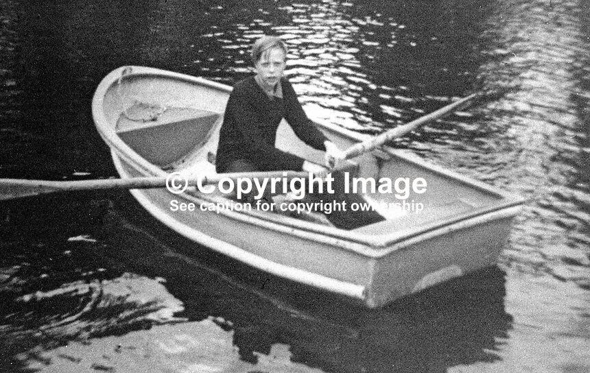 Norman Sharkey, 18 years, Belvoir Park, Belfast, N Ireland, who was shot dead for shouting a warning to fellow workers when the Provisional IRA planted a bomb in the motor accessories shop owned by Monte Carlo Rally winner, Paddy Hopkirk, on 10th March 1977. The rowing boat photo dates back a few years.  A man from the New Lodge district of the city was given 2 life sentences, one for the killing of Norman Sharkey and the other for the shooting of a soldier, Corporal William J Smith, in August of the same year. 197703100172b<br /> <br /> Copyright Image from Victor Patterson, 54 Dorchester Park, Belfast, UK, BT9 6RJ<br /> <br /> Tel: +44 28 9066 1296<br /> Mob: +44 7802 353836<br /> Voicemail +44 20 8816 7153<br /> Email: victorpatterson@me.com<br /> Email: victorpatterson@gmail.com<br /> <br /> IMPORTANT: My Terms and Conditions of Business are at www.victorpatterson.com