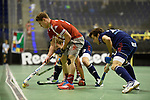 Berlin, Germany, January 31: Christian Reimann #20 of Club an der Alster in action during the 1. Bundesliga Herren Hallensaison 2014/15 semi-final hockey match between Rot-Weiss Koeln (dark blue) and Club an der Alster (red) on January 31, 2015 at the Final Four tournament at Max-Schmeling-Halle in Berlin, Germany. Final score 4-3 (2-2). (Photo by Dirk Markgraf / www.265-images.com) *** Local caption ***