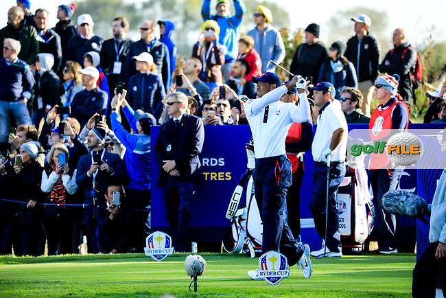 Tiger Woods (Team USA) during the Saturday Fourballs at the Ryder Cup, Le Golf National, Paris, France. 29/09/2018.<br /> Picture Phil Inglis / Golffile.ie<br /> <br /> All photo usage must carry mandatory copyright credit (© Golffile | Phil Inglis)