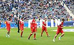 14.04.2018, OLympiastadion, Berlin, GER, 1.FBL, Hertha BSC VS. 1.FC Koeln, im Bild <br /> (v.l.n.r.) Claudio Pizarro (1.FC Koeln #39), Marco Hoeger (1.FC Koeln #6), Frederik Soerensen (1.FC Koeln #4), Christian Clemens (1.FC Koeln #17), Simon Zoller (1.FC Koeln #11)<br /> <br /> <br />       <br /> Foto &copy; nordphoto / Engler