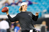 October 24, 2011:   Jacksonville Jaguars quarterback Blaine Gabbert  warms up prior to the start of the game between the Jacksonville Jaguars and the Baltimore Ravens played at EverBank Field in Jacksonville, Florida.  ........