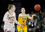 SIOUX FALLS, SD - MARCH 8: Sofija Zivaljevic #4 of the North Dakota State Bison passes the ball against the Denver Pioneers at the 2020 Summit League Basketball Championship in Sioux Falls, SD. (Photo by Richard Carlson/Inertia)