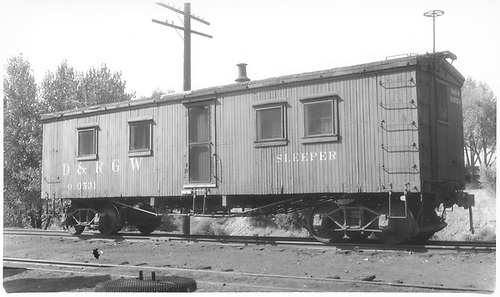 Standard gauge sleeper 010531 at Salida.<br /> D&amp;RGW  Salida, CO  Taken by Darrell, Paul - 8/1934