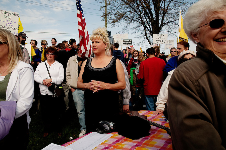 """Clinton Township, Michigan, April 11, 2010 - Tea Party supporter and former Saturday Night Live commedian Victoria Jackson at the Civic Center Park & Historical Village during a Tea Party Express rally, the thirty-fifth stop in a 43-city tour across the country, which will conclude with a large rally in Washington, D.C. on April 15, Tax Day. Jackson joined the tour for several of its stops as a guest speaker. The Tea Party Express tour titled """"Just Vote Them Out"""" is taking an aggressive approach by targeting Democratic incumbents competitive districts, as well as Republicans deemed not conservative enough who are facing primary challenges from more conservative candidates.While not endorsing any candidates so far, the Tea Party Express does not hide its desire to replace incumbents with new conservatives that more closely hew to its goals of smaller government and less taxes.."""