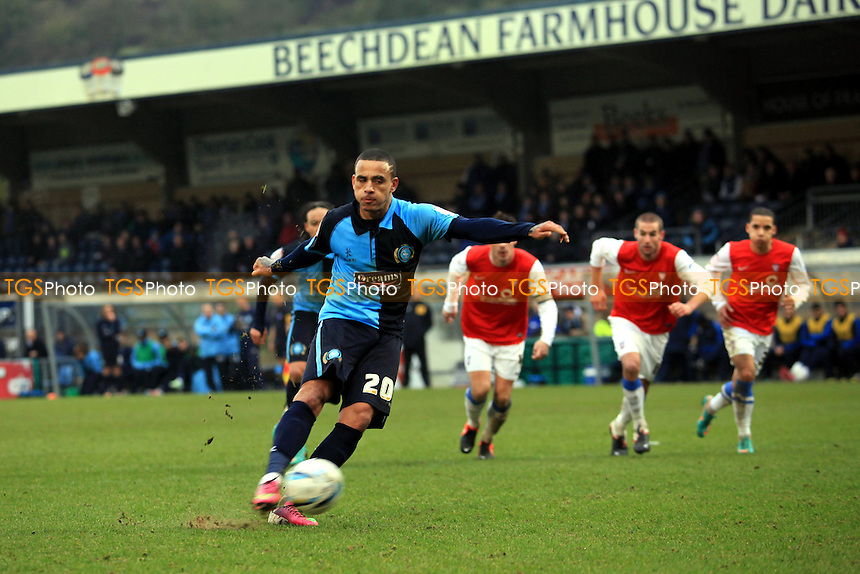 Dean Morgan scores Wycombe's second goal from the penalty spot - Wycombe Wanderers vs York City - NPower League Two Football at Adams Park, High Wycombe - 09/02/13 - MANDATORY CREDIT: Paul Dennis/TGSPHOTO - Self billing applies where appropriate - 0845 094 6026 - contact@tgsphoto.co.uk - NO UNPAID USE.