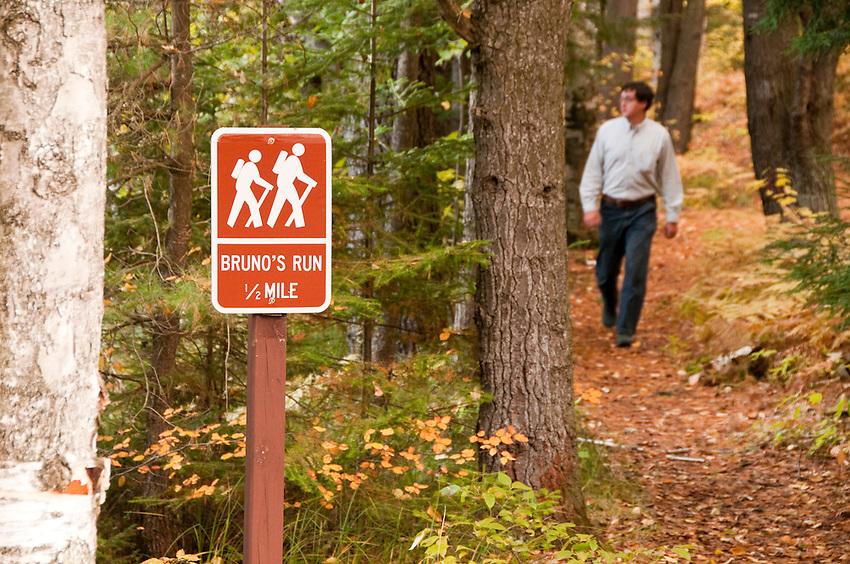 Bruno's Run hiking trail in Hiawatha National Forest Michigans Upper Peninsula near Munising Michigan.