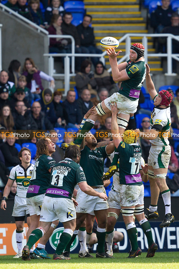 Nick Kennedy (c) of London Irish RFC wins line out ball - London Irish RFC vs Northampton Saints RFC - Aviva Premiership Rugby at the Madejski Stadium, Reading FC - 26/02/12 - MANDATORY CREDIT: Ray Lawrence/TGSPHOTO - Self billing applies where appropriate - 0845 094 6026 - contact@tgsphoto.co.uk - NO UNPAID USE.