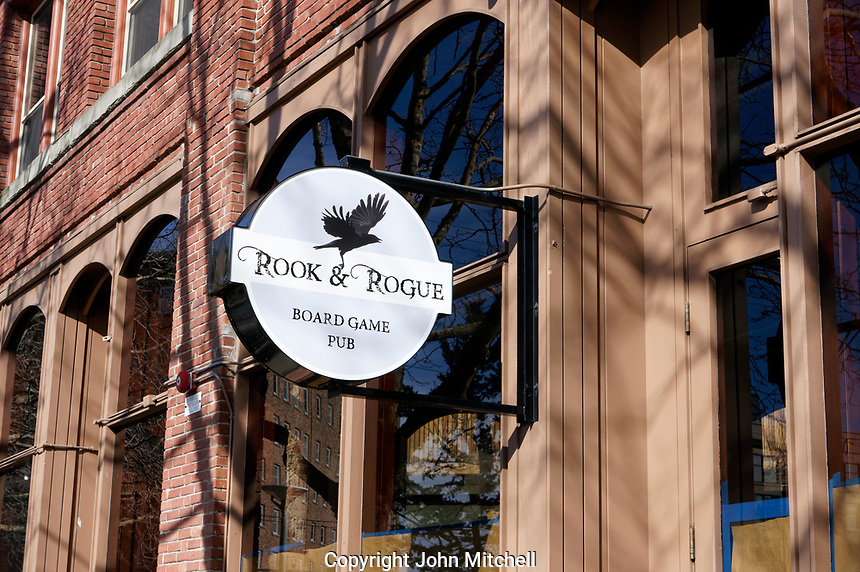 Rook and Rogue Board Game Pub in downtown Bellingham, Washington state, USA