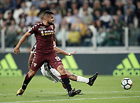 Calcio, Serie A: Torino, Allianz Stadium, 23 settembre 2017. <br /> Juventus' Paulo Dybala (r) scores during the Italian Serie A football match between Juventus and Tori0i at Torino's Allianz Stadium, September 23, 2017.<br /> UPDATE IMAGES PRESS/Isabella Bonotto