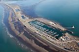 USA, Alaska, Homer, an aerial view of the Homer Spit and marina, Kachemak Bay