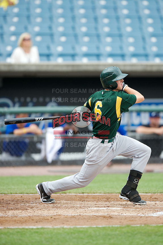 Connor Heady #6 of North Oldham High School in Goshen, Kentucky playing for the Oakland Athletics scout team during the East Coast Pro Showcase at Alliance Bank Stadium on August 1, 2012 in Syracuse, New York.  (Mike Janes/Four Seam Images)