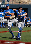 March 10, 2012:   UC Santa Barbara Gauchos catcher Joe Winterburn makes the throw to first against the Nevada Wolf Pack during their NCAA baseball game played at Peccole Park on Saturday afternoon in Reno, Nevada.