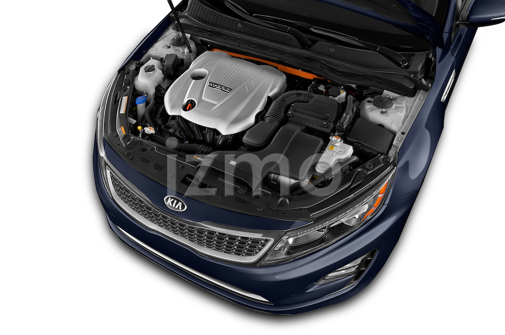 Car Stock 2014 KIA Optima Hybrid EX 4 Door Sedan Engine high angle detail view