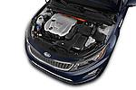 Car Stock 2014 KIA Optima Hybrid EX 4 Door Sedan Engine high angle detail view
