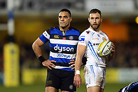 Kahn Fotuali'i of Bath Rugby and Nic White of Exeter Chiefs look on. Aviva Premiership match, between Bath Rugby and Exeter Chiefs on March 23, 2018 at the Recreation Ground in Bath, England. Photo by: Patrick Khachfe / Onside Images