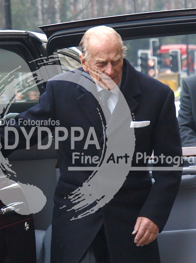 Prince Philip visits Baker Street tube station in London, after a visit as part of the London Underground's 150th anniversary, Wednesday, 20th March 2013. Photo by Max Nash / i-Images / DyD Fotografos