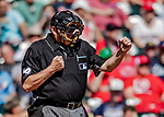 25 February 2019: MLB Umpire Jerry Layne works home plate during a pre-season Spring Training game between the Washington Nationals and the Atlanta Braves at Champion Stadium in the ESPN Wide World of Sports Complex in Kissimmee, Florida. The Braves defeated the Nationals 9-4 in Grapefruit League play in what will be their last season at the Disney / ESPN Wide World of Sports complex. Mandatory Credit: Ed Wolfstein Photo *** RAW (NEF) Image File Available ***