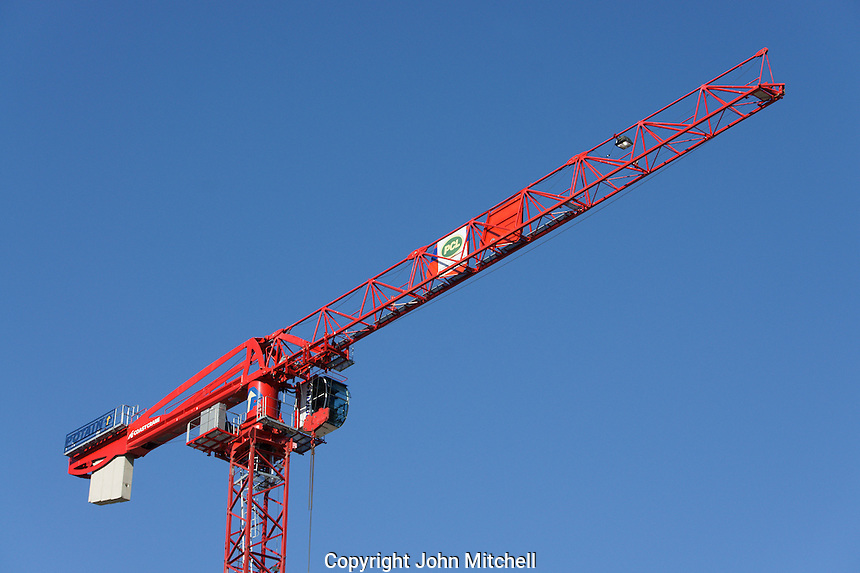 Red construction crane, Vancouver, BC, Canada