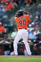 Baltimore Orioles left fielder Alfredo Marte (80) at bat during a Spring Training game against the Minnesota Twins on March 7, 2016 at Ed Smith Stadium in Sarasota, Florida.  Minnesota defeated Baltimore 3-0.  (Mike Janes/Four Seam Images)