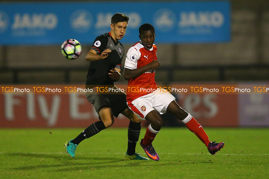 Eddie Nketiah of Arsenal and Alfie Jones of Southampton during Arsenal Under-23 vs Southampton Under-23, Premier League 2 Football at Meadow Park on 14th October 2016