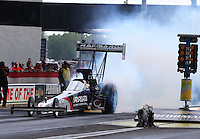 Aug. 31, 2013; Clermont, IN, USA: NHRA top fuel dragster driver Damien Harris during qualifying for the US Nationals at Lucas Oil Raceway. Mandatory Credit: Mark J. Rebilas-