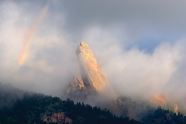 Rainbow over the Third Flatiron, Boulder, Colorado. .  John leads private photo tours in Boulder and throughout Colorado. Year-round Colorado photo tours.