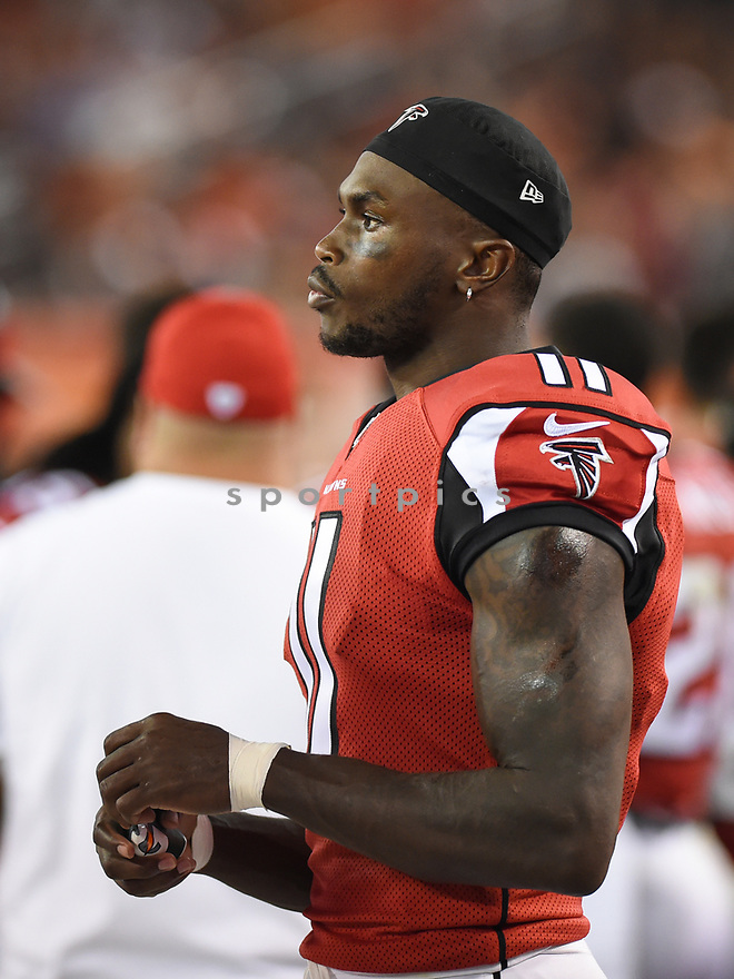 CLEVELAND, OH - AUGUST 18, 2016: Wide receiver Julio Jones #11 of the Atlanta Falcons watches the action from the sideline in the third quarter of a preseason game on August 18, 2016 against the Cleveland Browns at FirstEnergy Stadium in Cleveland, Ohio. Atlanta won 24-13. (Photo by: 2016 Nick Cammett/Diamond Images) *** Local Caption *** Julio Jones